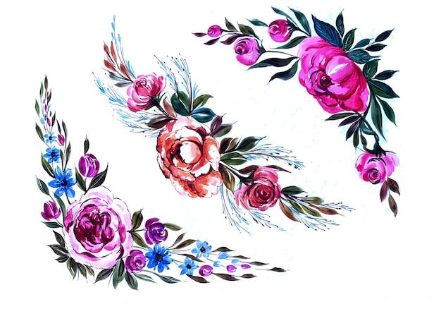 美しい水彩色とりどりの花セット