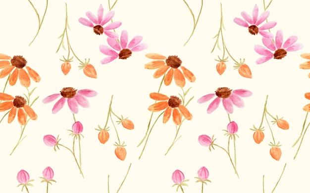 원활한 패턴으로 아름 다운 수채화 코스모스 꽃