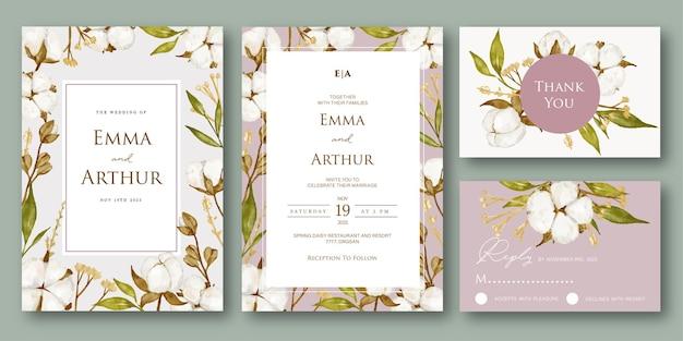 美しい水彩綿の花の結婚式の招待状セット