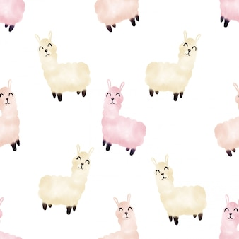 Beautiful watercolor cute ilama seamless pattern