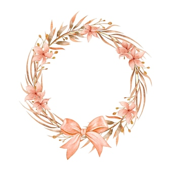 Beautiful watercolor dried leaves and flower wreath