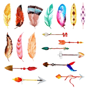 Beautiful watercolor feather and arrows collection