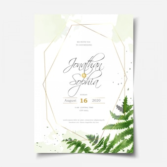 Beautiful watercolor fern foliage wedding invitation