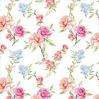 아름 다운 수채화 꽃과 나뭇잎 원활한 패턴