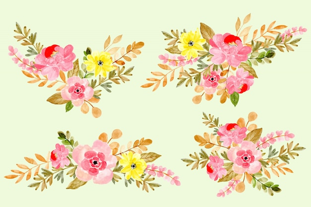 Beautiful watercolor floral arrangement collection