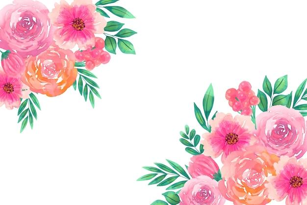 아름다운 수채화 꽃 배경
