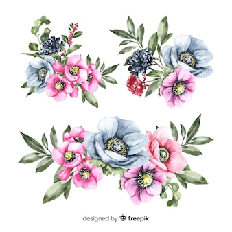 Beautiful watercolor floral bouquet collection