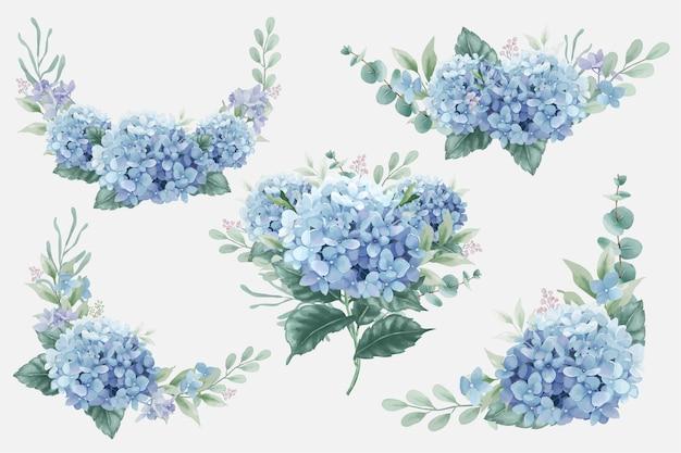 수국 꽃과 유칼립투스 나뭇가지가 있는 아름다운 수채화 꽃 부케
