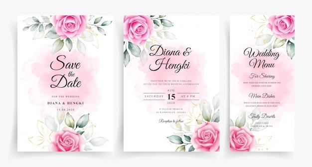 結婚式の招待状のテンプレートに美しい水彩花飾り