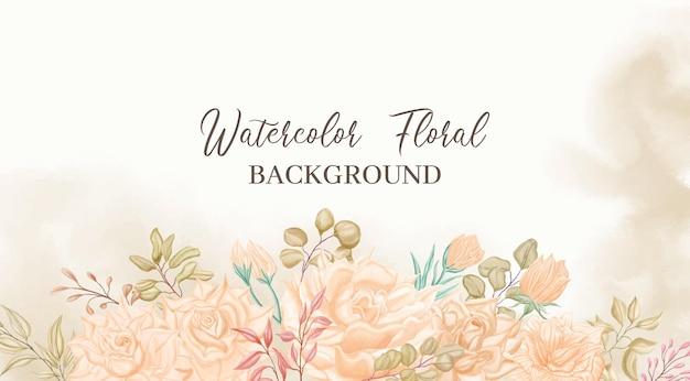 結婚式のバナーテンプレートの美しい水彩花フレームの背景