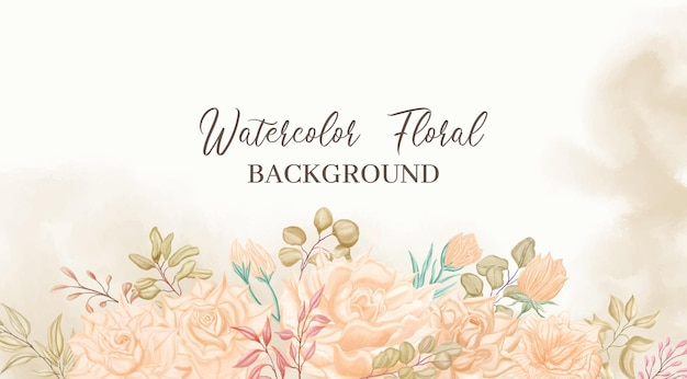 Beautiful watercolor floral frame background for wedding banner template