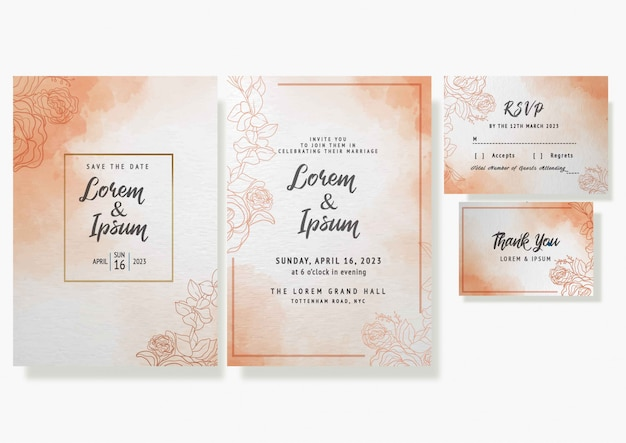 Beautiful  watercolor floral frame wedding invitation card template rsvp vector