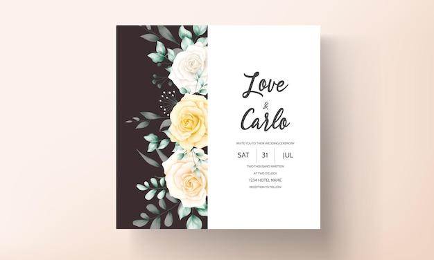 Bellissimo biglietto d'invito per matrimonio con cornice floreale ad acquerello con natura morbida