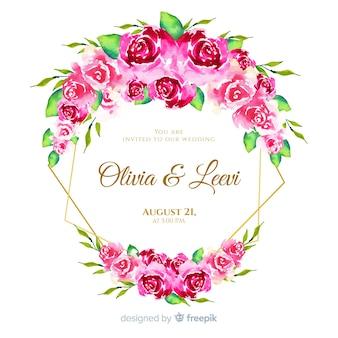 Beautiful watercolor floral frame wedding invitation