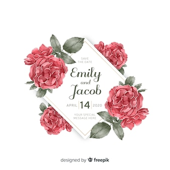 Beautiful watercolor floral frame wedding invitation