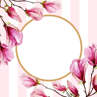 Beautiful Watercolor Floral Frame With Stripes Background