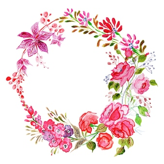 Beautiful watercolor floral frame