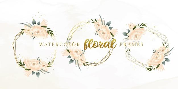 아름 다운 수채화 꽃 프레임 컬렉션