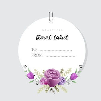 Beautiful watercolor floral label template