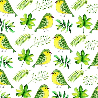 Beautiful watercolor floral,leaves and birds pattern background