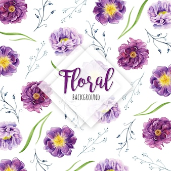 Beautiful watercolor floral and leaves pattern background