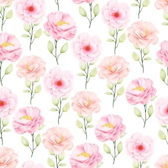 Beautiful watercolor floral and leaves seamless pattern