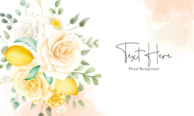 Beautiful watercolor floral and leaves with botanical lemon fruit background