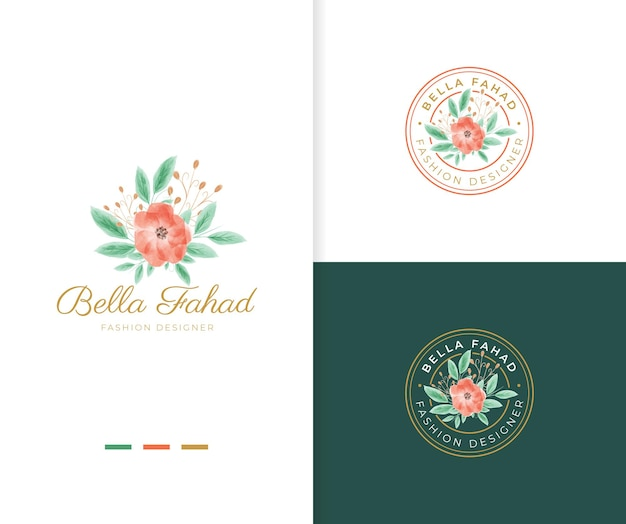 Beautiful watercolor floral logo template with circle badge