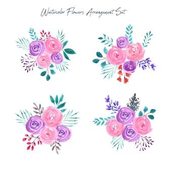 美しい水彩画の花のピンクと紫のアレンジメント