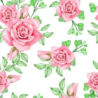 Beautiful watercolor floral rose seamles pattern