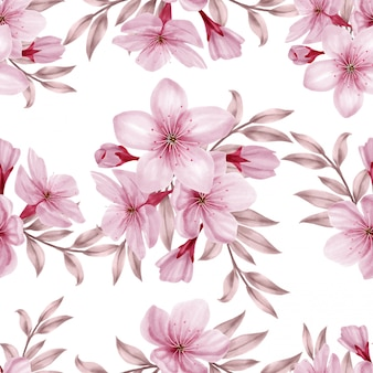 Beautiful watercolor floral rose seamless pattern