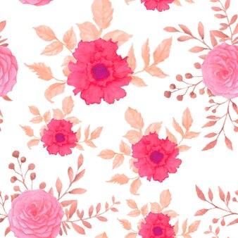 美しい水彩画の花のシームレスなパターン