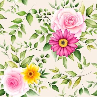 Beautiful watercolor floral seamless pattern