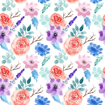 아름 다운 수채화 꽃 원활한 패턴
