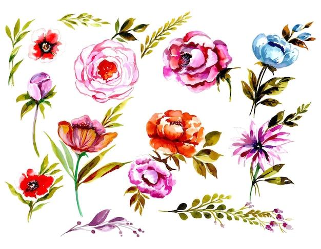 美しい水彩花柄セットデザイン