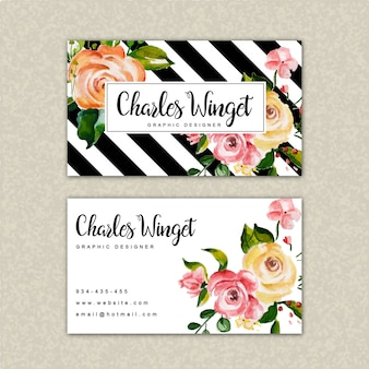 Beautiful watercolor floral visiting card template