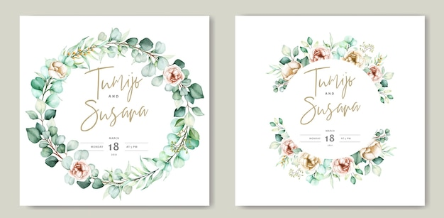 Beautiful watercolor floral wedding card template