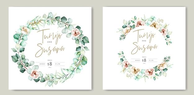 美しい水彩画の花の結婚式のカードテンプレート 無料ベクター