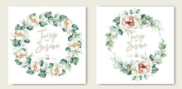 美しい水彩画の花の結婚式のカードテンプレート