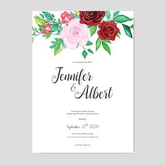 Beautiful watercolor floral wedding card template