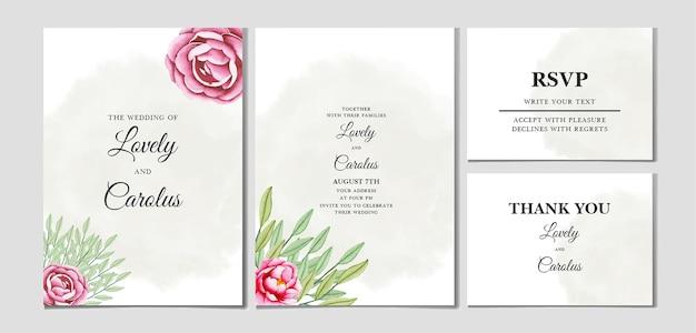 Красивый акварельный цветочный шаблон свадебной открытки