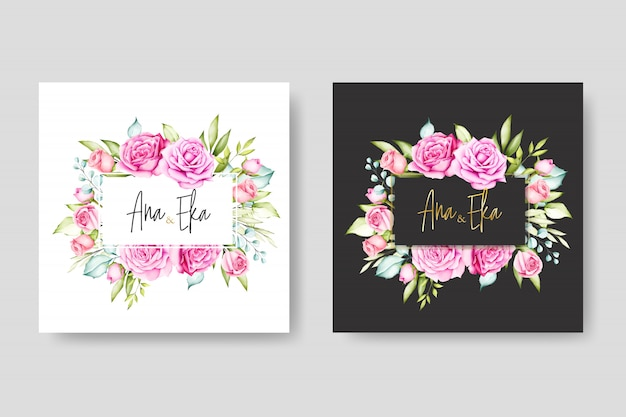 Beautiful watercolor floral wedding card