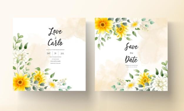 美しい水彩画の花の結婚式の招待カード花柄