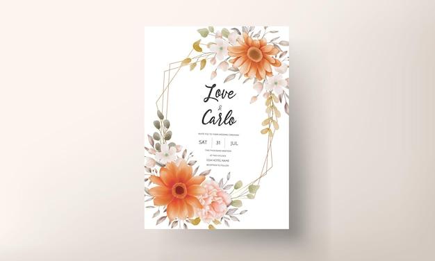 美しい水彩花の結婚式の招待カードのテンプレートデザイン