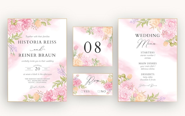 Beautiful watercolor floral wedding invitation card template set bundle