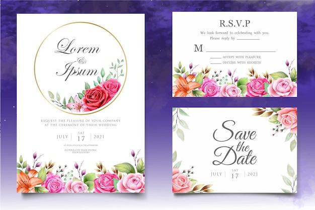 美しい水彩画の花の結婚式の招待カードテンプレート