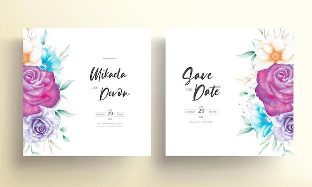 알코올 잉크와 함께 아름 다운 수채화 꽃 결혼식 초대 카드