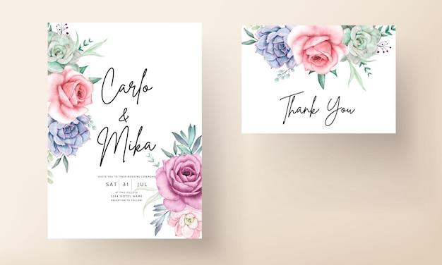 장미와 다육 식물이 있는 아름다운 수채화 꽃 결혼식 초대 카드
