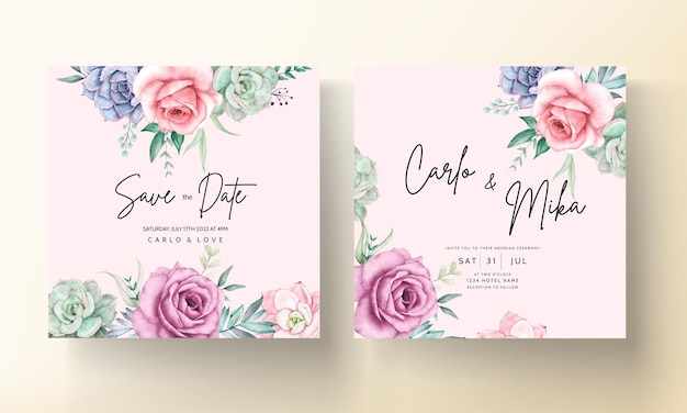 Beautiful watercolor floral wedding invitation card with roses and succulents