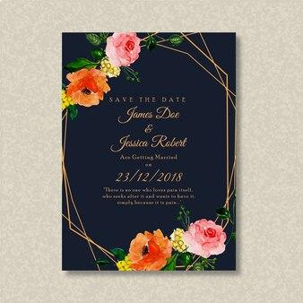 아름다운 수채화 꽃 결혼식 안내장 카드